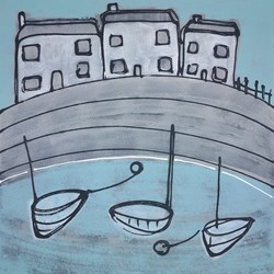 Harbour Life by Charlotte Turner -  sized 24x24 inches. Available from Whitewall Galleries